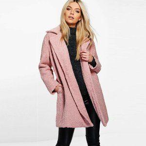 BOOHOO Cosy Pink Teddy Fur Jacket Coat